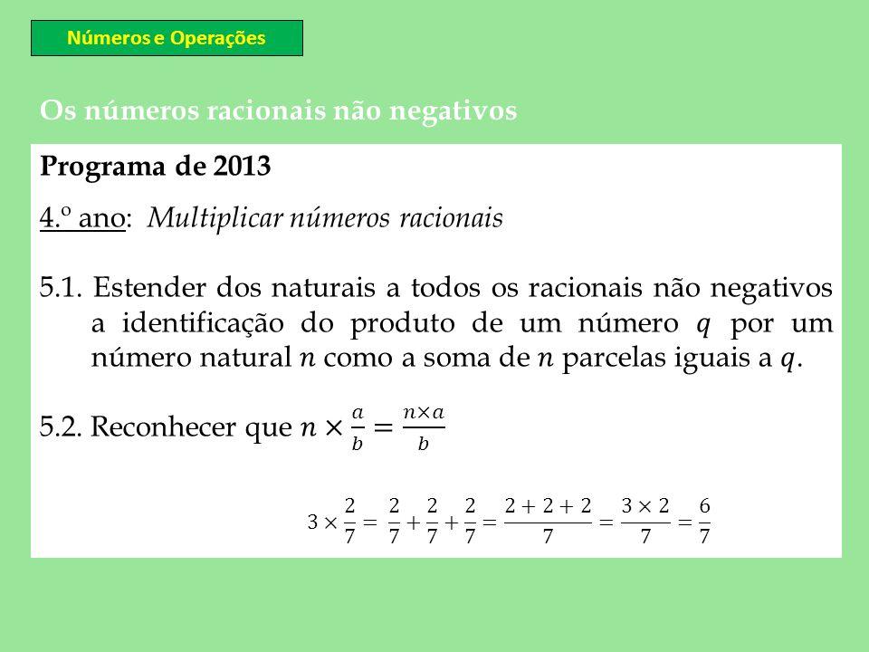 Números e Operações Os números racionais não negativos