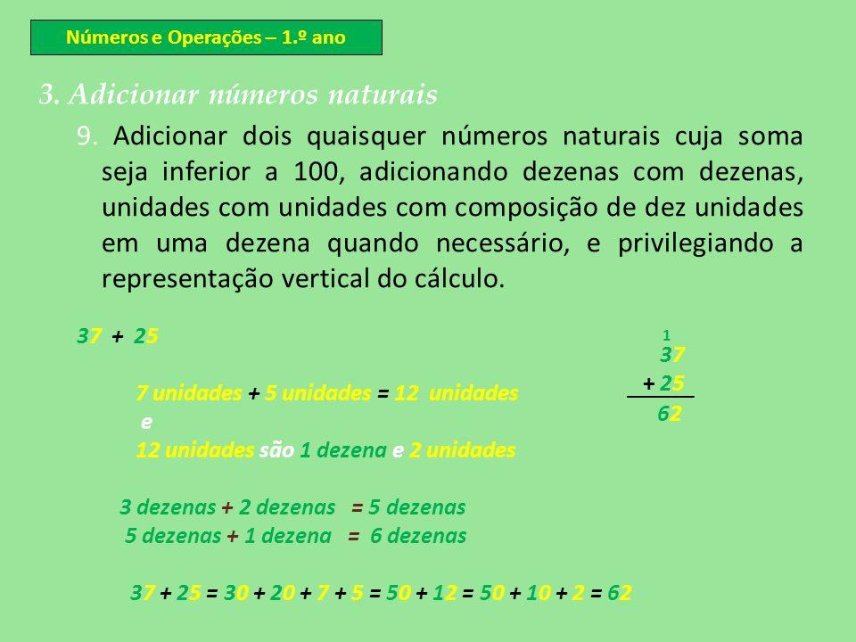 Números e Operações – 1.º ano 3. Adicionar números naturais 9. Adicionar dois quaisquer números naturais cuja soma seja inferior a 100, adicionando de