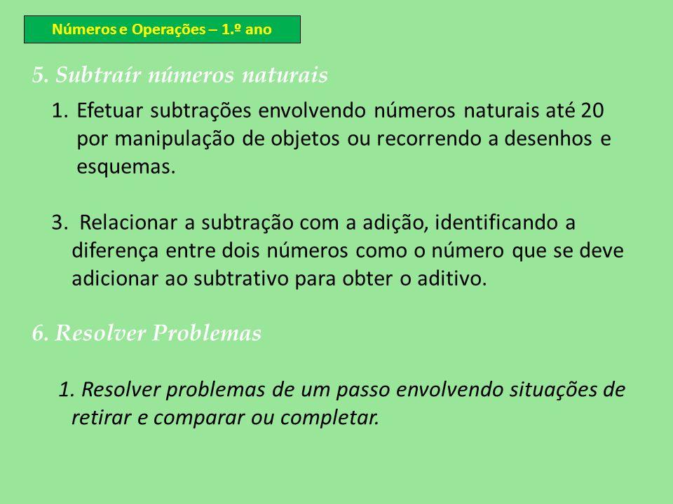 5. Subtraír números naturais 1.Efetuar subtrações envolvendo números naturais até 20 por manipulação de objetos ou recorrendo a desenhos e esquemas. 3