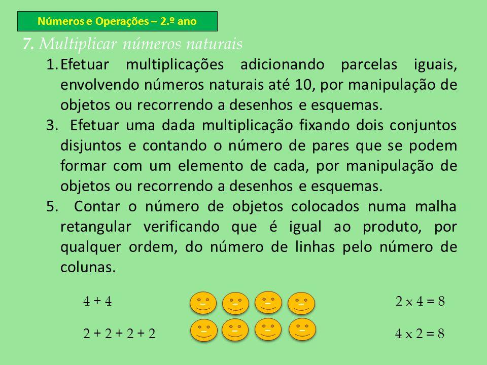 Números e Operações – 2.º ano 7. Multiplicar números naturais 1.Efetuar multiplicações adicionando parcelas iguais, envolvendo números naturais até 10
