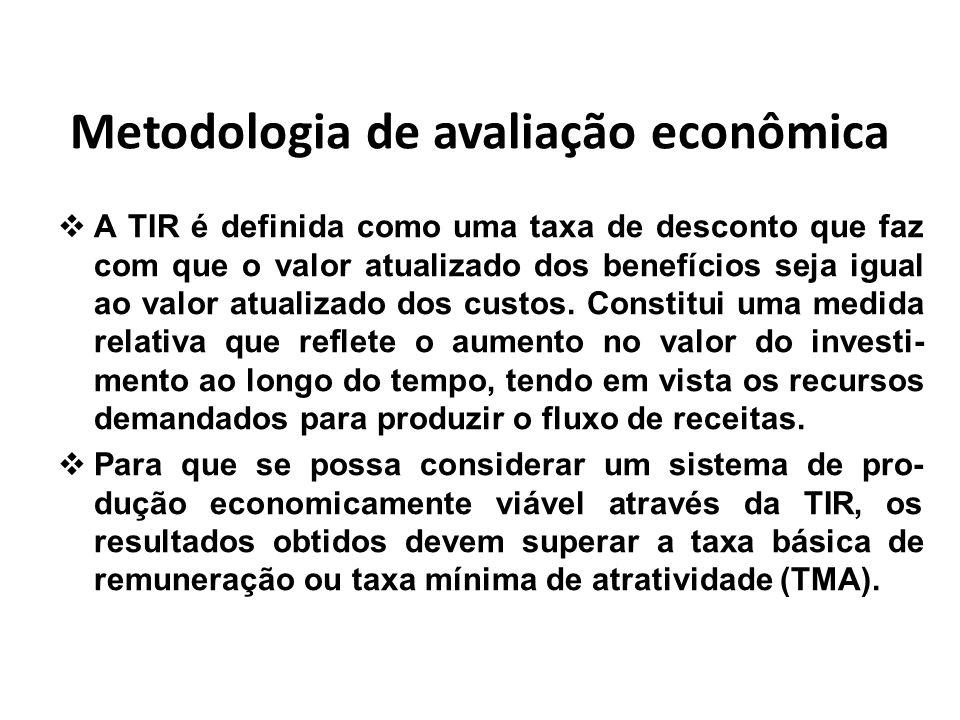 Metodologia de avaliação econômica A TIR é definida como uma taxa de desconto que faz com que o valor atualizado dos benefícios seja igual ao valor at