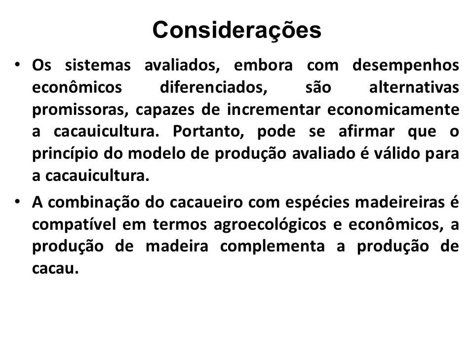 Considerações Os sistemas avaliados, embora com desempenhos econômicos diferenciados, são alternativas promissoras, capazes de incrementar economicame