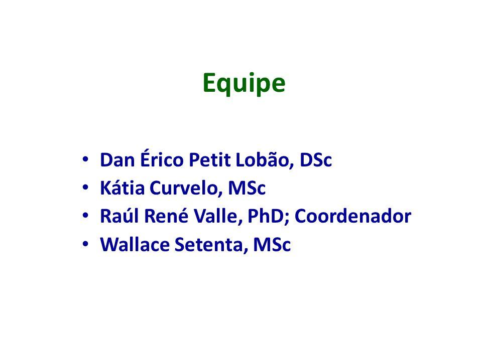 Equipe Dan Érico Petit Lobão, DSc Kátia Curvelo, MSc Raúl René Valle, PhD; Coordenador Wallace Setenta, MSc