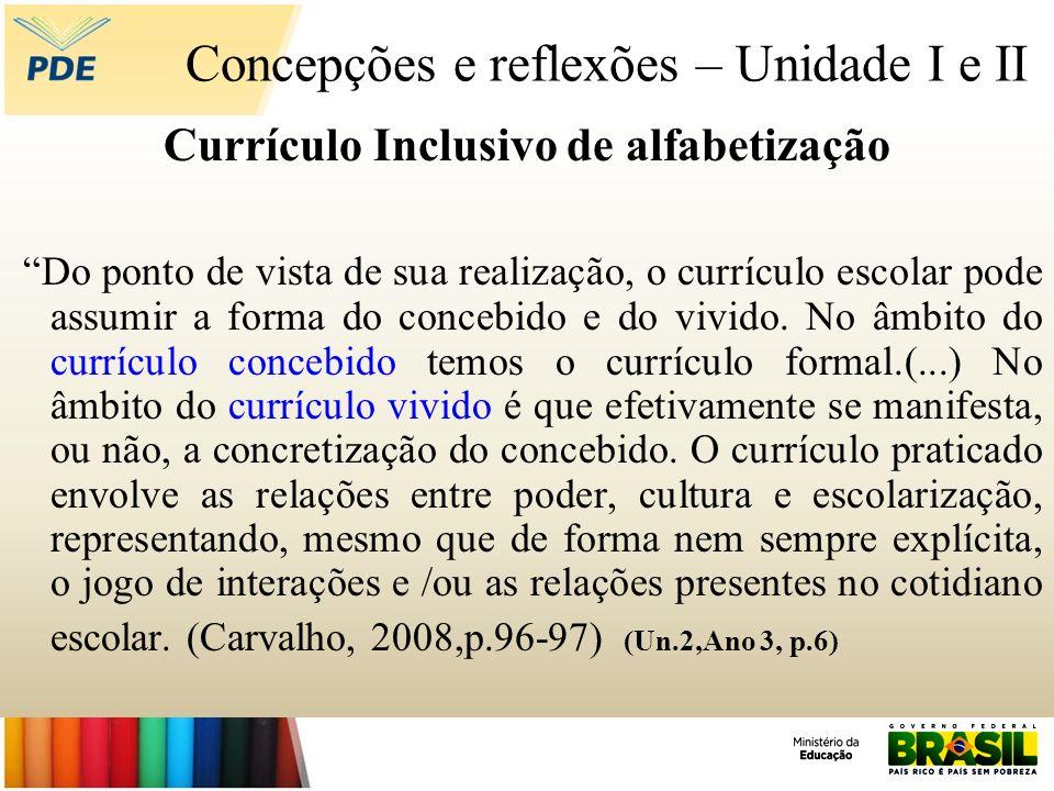 Concepções e reflexões – Unidade I e II Currículo Inclusivo de alfabetização Do ponto de vista de sua realização, o currículo escolar pode assumir a f