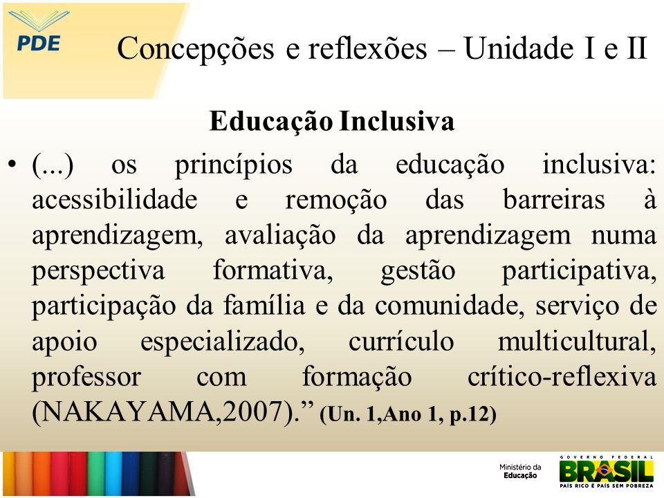 Concepções e reflexões – Unidade I e II Educação Inclusiva (...) os princípios da educação inclusiva: acessibilidade e remoção das barreiras à aprendi