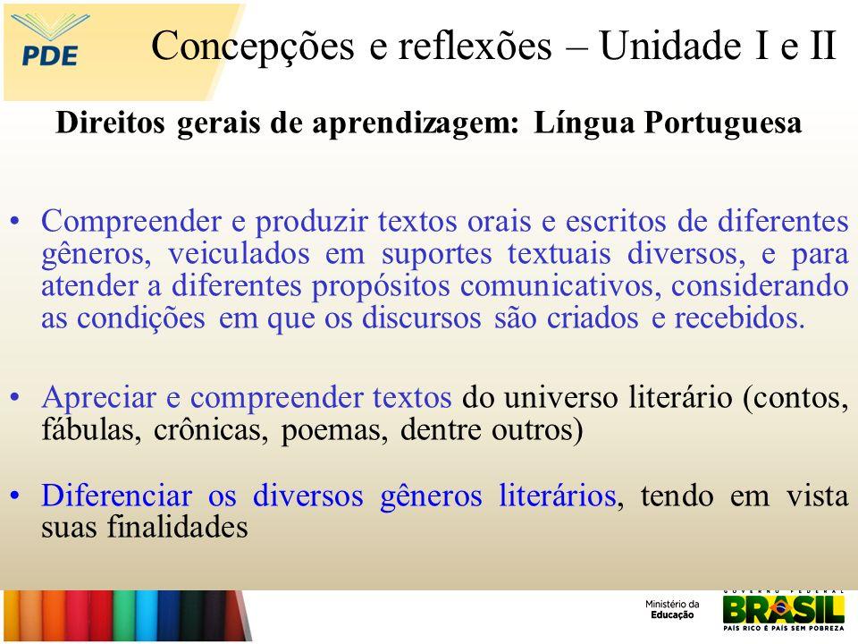 Concepções e reflexões – Unidade I e II Direitos gerais de aprendizagem: Língua Portuguesa Compreender e produzir textos orais e escritos de diferente
