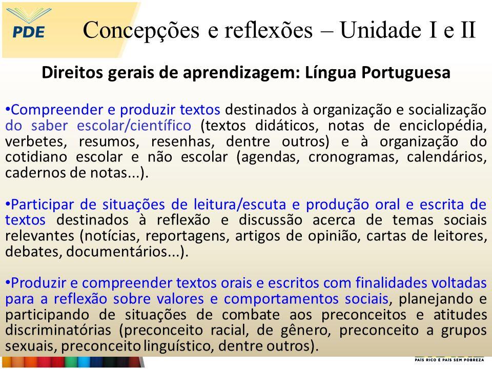 Concepções e reflexões – Unidade I e II Direitos gerais de aprendizagem: Língua Portuguesa Compreender e produzir textos destinados à organização e so