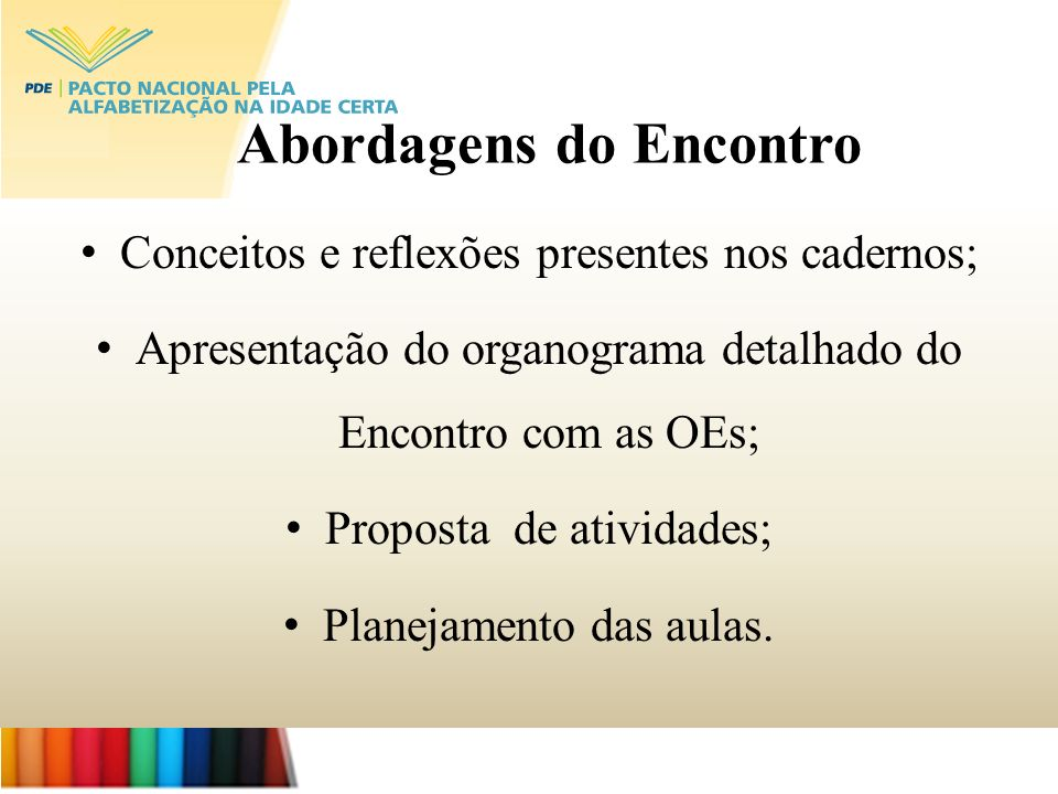 Conceitos e reflexões presentes nos cadernos; Apresentação do organograma detalhado do Encontro com as OEs; Proposta de atividades; Planejamento das a