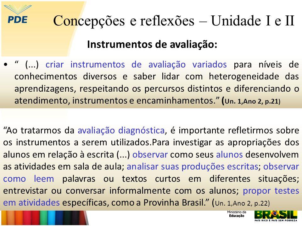 Concepções e reflexões – Unidade I e II (...) criar instrumentos de avaliação variados para níveis de conhecimentos diversos e saber lidar com heterog