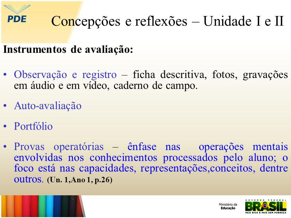 Concepções e reflexões – Unidade I e II Instrumentos de avaliação: Observação e registro – ficha descritiva, fotos, gravações em áudio e em vídeo, cad