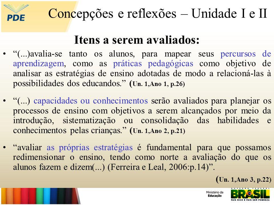Concepções e reflexões – Unidade I e II Itens a serem avaliados: (...)avalia-se tanto os alunos, para mapear seus percursos de aprendizagem, como as p