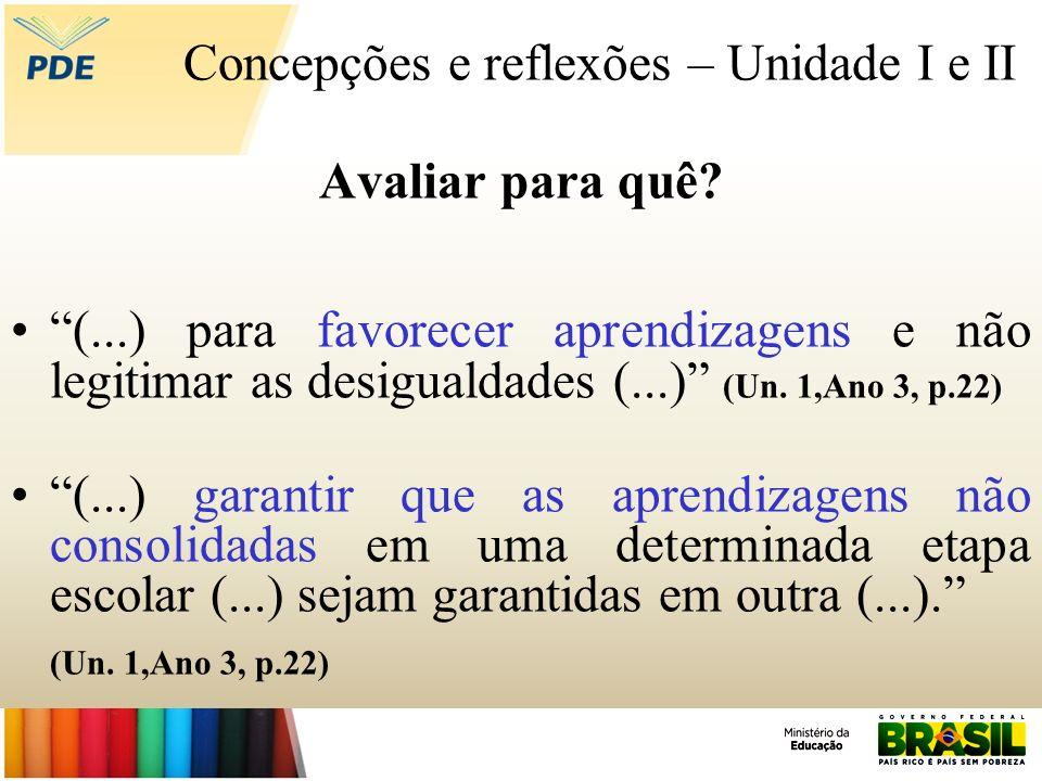 Concepções e reflexões – Unidade I e II Avaliar para quê? (...) para favorecer aprendizagens e não legitimar as desigualdades (...) (Un. 1,Ano 3, p.22