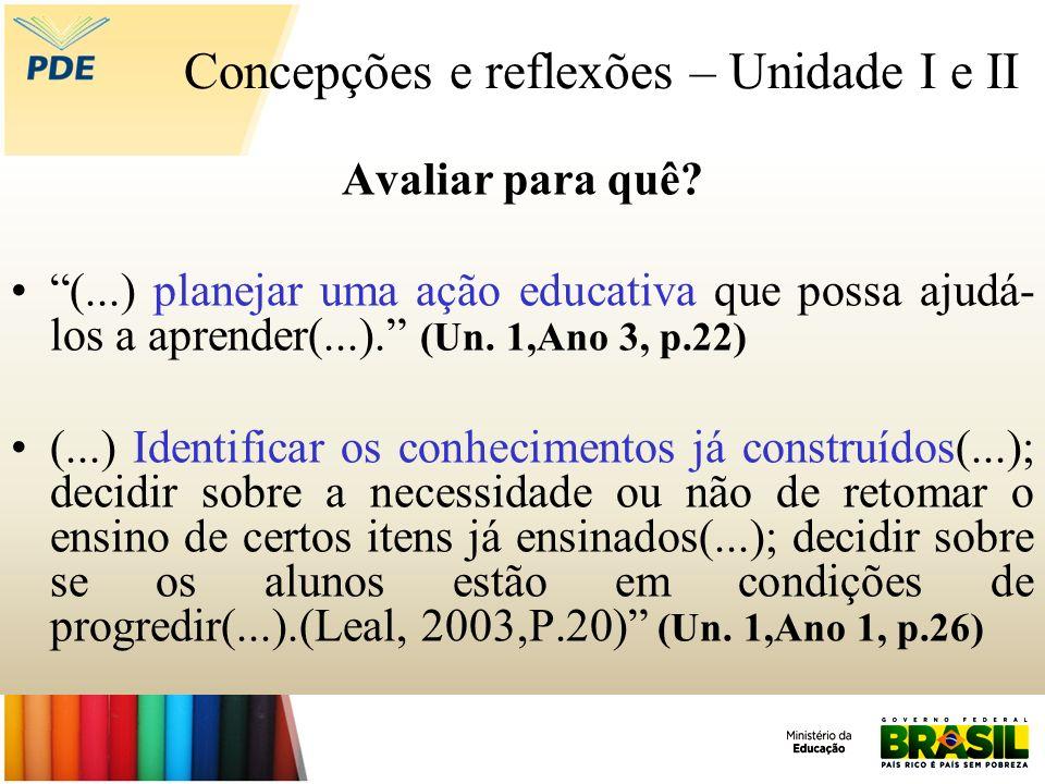 Concepções e reflexões – Unidade I e II Avaliar para quê? (...) planejar uma ação educativa que possa ajudá- los a aprender(...). (Un. 1,Ano 3, p.22)