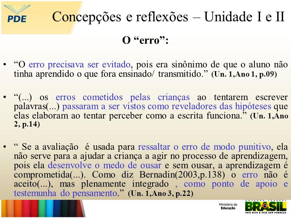 Concepções e reflexões – Unidade I e II O erro: O erro precisava ser evitado, pois era sinônimo de que o aluno não tinha aprendido o que fora ensinado