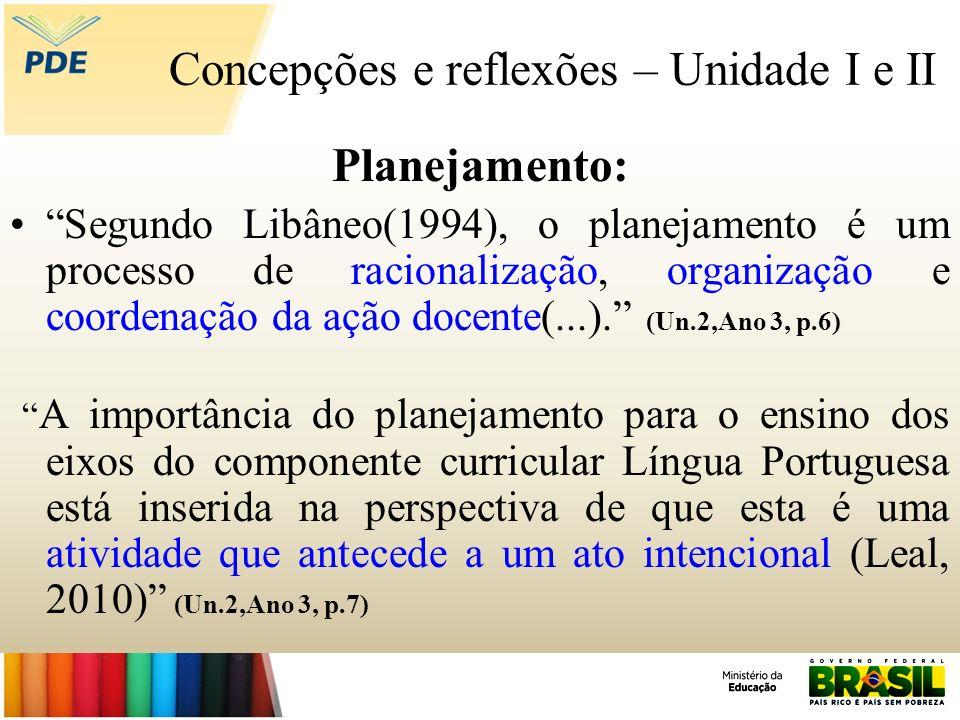 Concepções e reflexões – Unidade I e II Planejamento: Segundo Libâneo(1994), o planejamento é um processo de racionalização, organização e coordenação