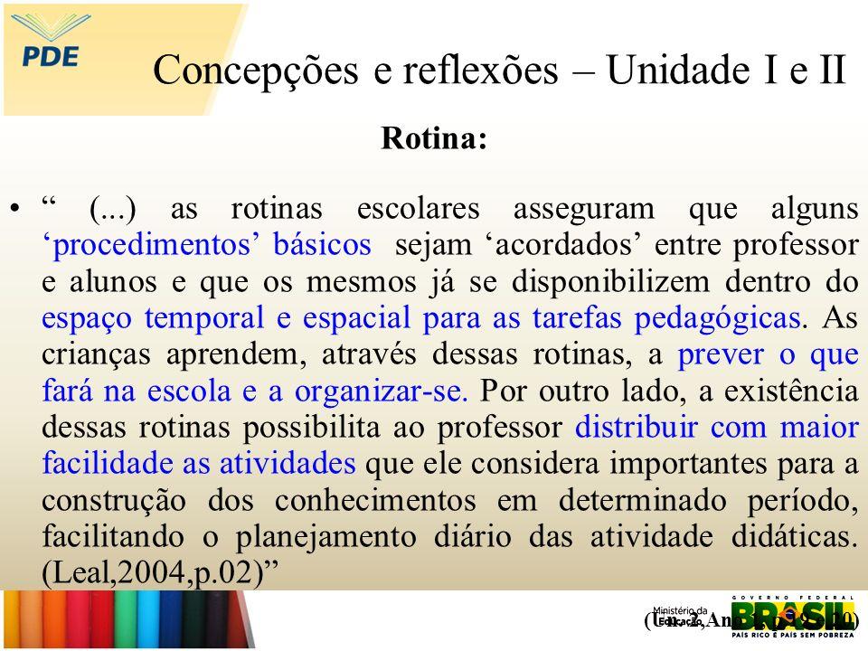 Concepções e reflexões – Unidade I e II Rotina: (...) as rotinas escolares asseguram que alguns procedimentos básicos sejam acordados entre professor