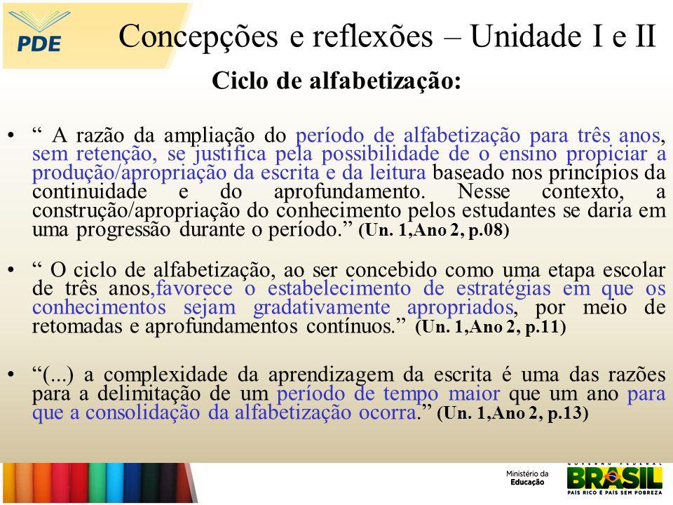 Concepções e reflexões – Unidade I e II Ciclo de alfabetização: A razão da ampliação do período de alfabetização para três anos, sem retenção, se just