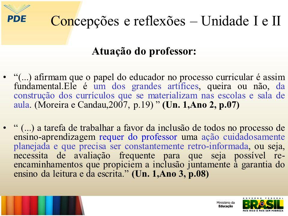 Concepções e reflexões – Unidade I e II Atuação do professor: (...) afirmam que o papel do educador no processo curricular é assim fundamental.Ele é u