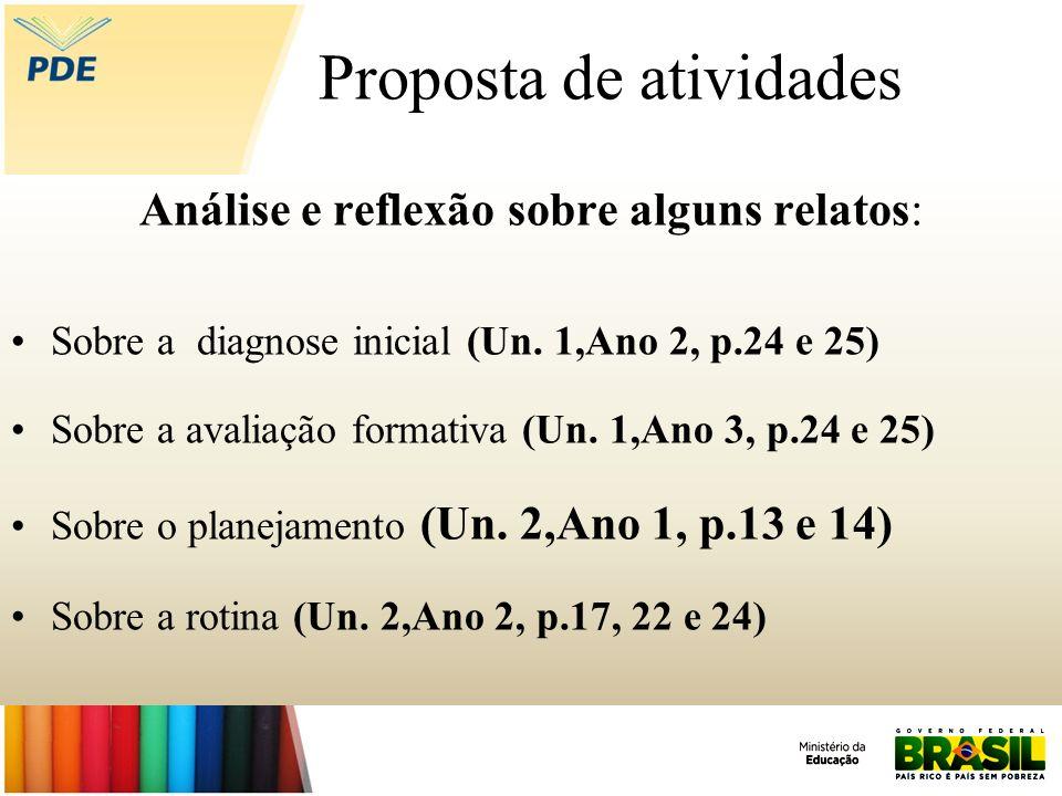 Proposta de atividades Análise e reflexão sobre alguns relatos: Sobre a diagnose inicial (Un. 1,Ano 2, p.24 e 25) Sobre a avaliação formativa (Un. 1,A