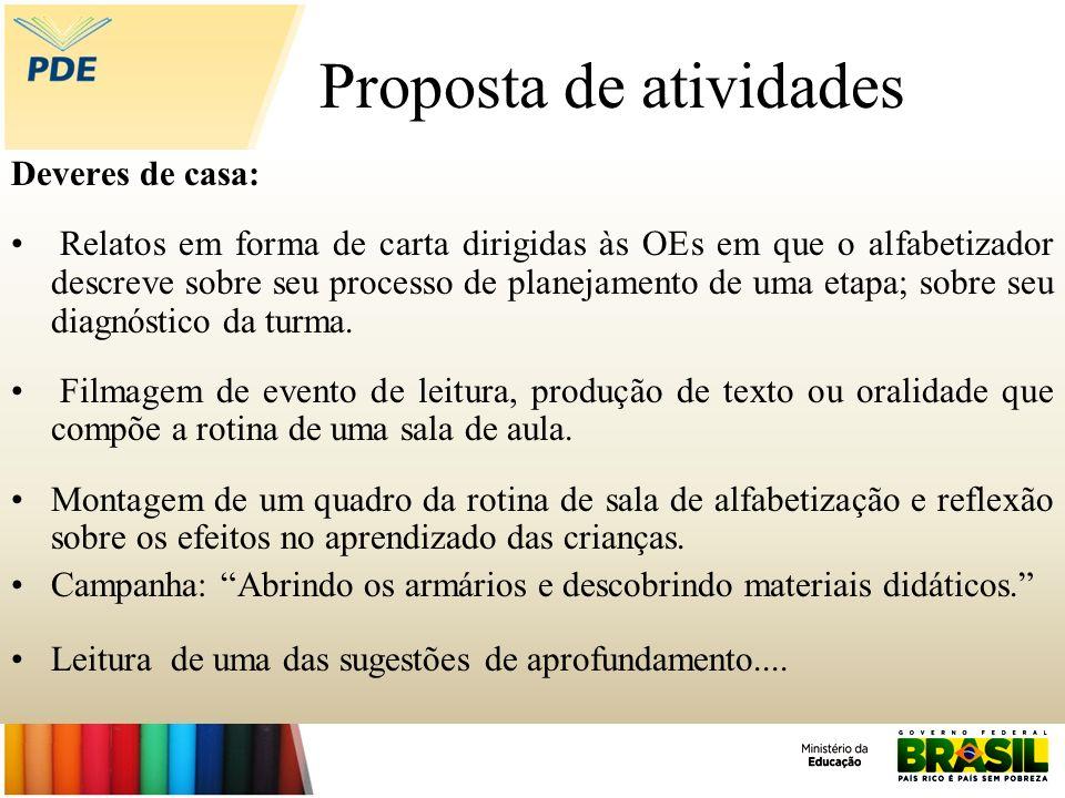 Proposta de atividades Deveres de casa: Relatos em forma de carta dirigidas às OEs em que o alfabetizador descreve sobre seu processo de planejamento