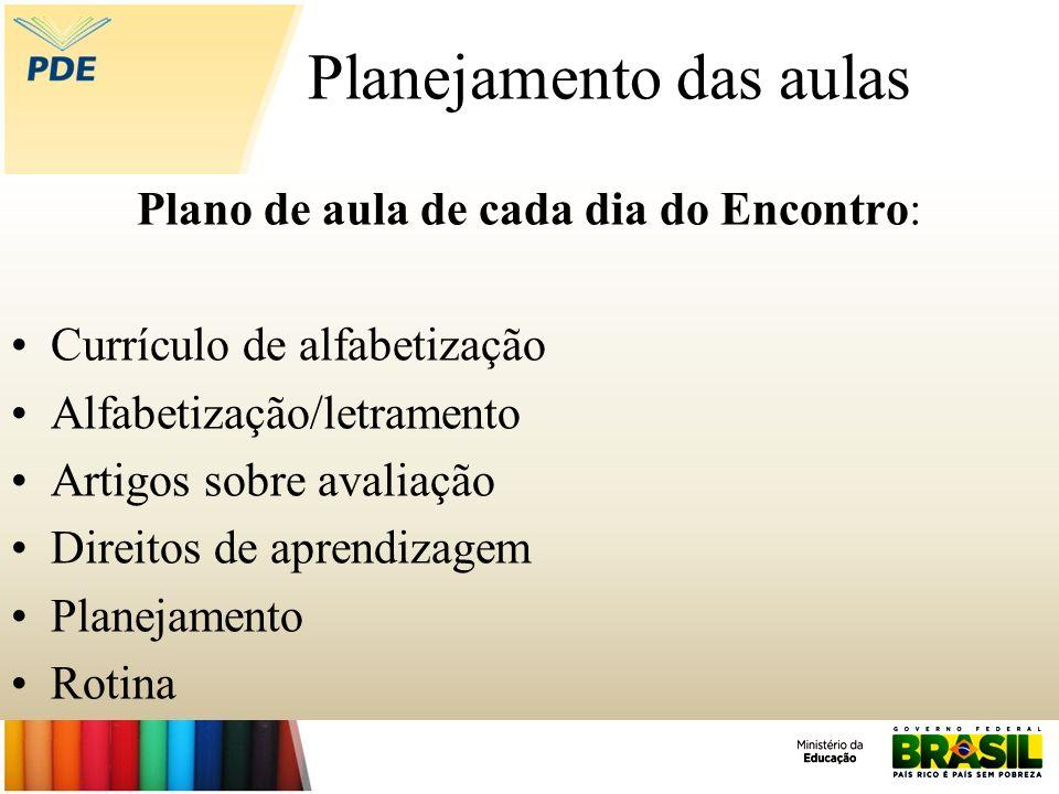 Planejamento das aulas Plano de aula de cada dia do Encontro: Currículo de alfabetização Alfabetização/letramento Artigos sobre avaliação Direitos de