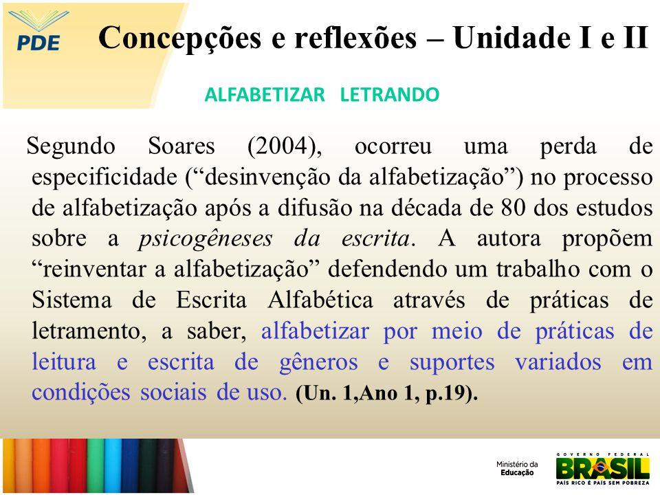 Concepções e reflexões – Unidade I e II Segundo Soares (2004), ocorreu uma perda de especificidade (desinvenção da alfabetização) no processo de alfab