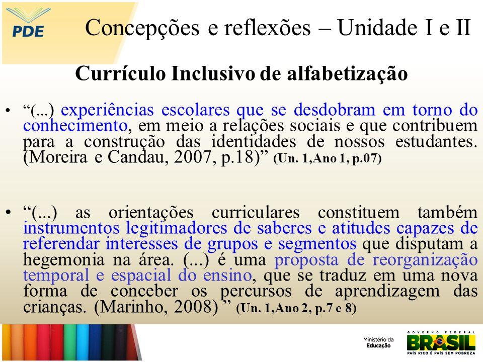 Concepções e reflexões – Unidade I e II Currículo Inclusivo de alfabetização (... ) experiências escolares que se desdobram em torno do conhecimento,