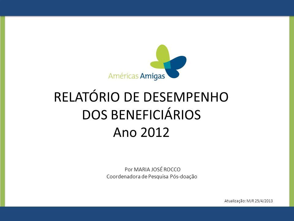 RELATÓRIO DE DESEMPENHO DOS BENEFICIÁRIOS Ano 2012 Por MARIA JOSÉ ROCCO Coordenadora de Pesquisa Pós-doação Atualização: MJR 25/4/2013