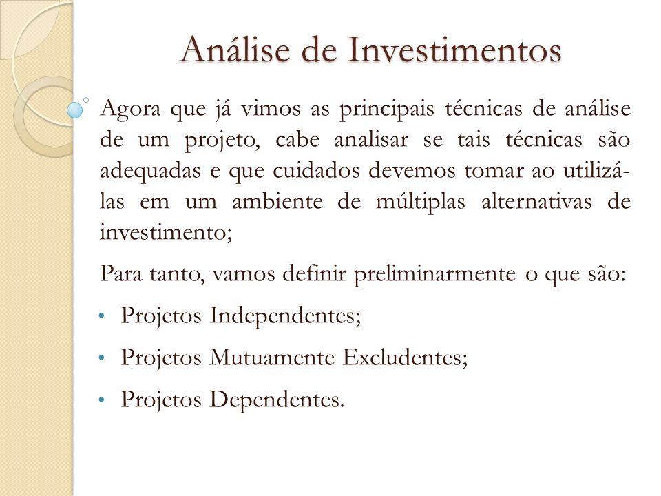 Análise de Investimentos Agora que já vimos as principais técnicas de análise de um projeto, cabe analisar se tais técnicas são adequadas e que cuidad