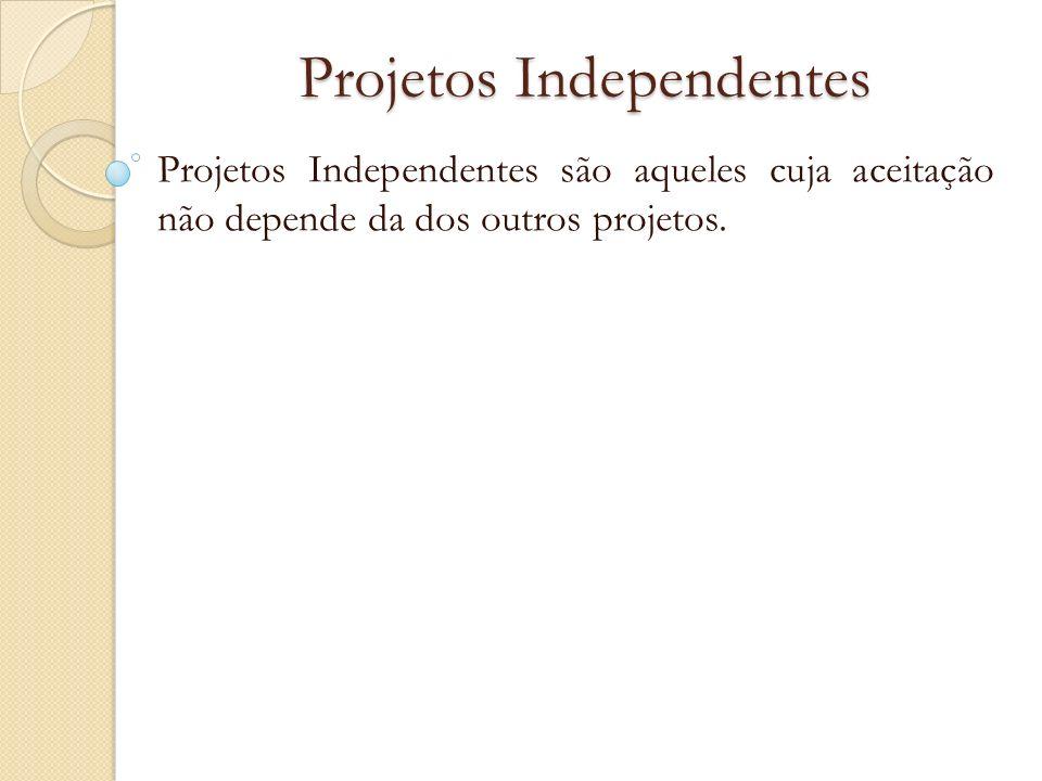 Projetos Independentes Projetos Independentes são aqueles cuja aceitação não depende da dos outros projetos.