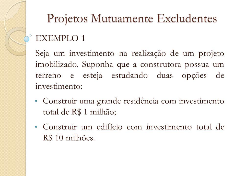 Projetos Mutuamente Excludentes EXEMPLO 1 Seja um investimento na realização de um projeto imobilizado. Suponha que a construtora possua um terreno e
