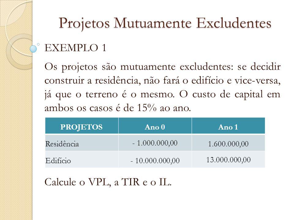 Projetos Mutuamente Excludentes EXEMPLO 1 Os projetos são mutuamente excludentes: se decidir construir a residência, não fará o edifício e vice-versa,