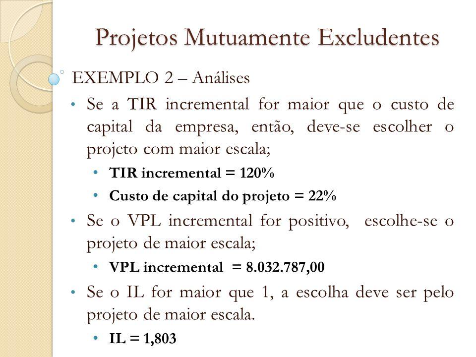 Projetos Mutuamente Excludentes EXEMPLO 2 – Análises Se a TIR incremental for maior que o custo de capital da empresa, então, deve-se escolher o proje