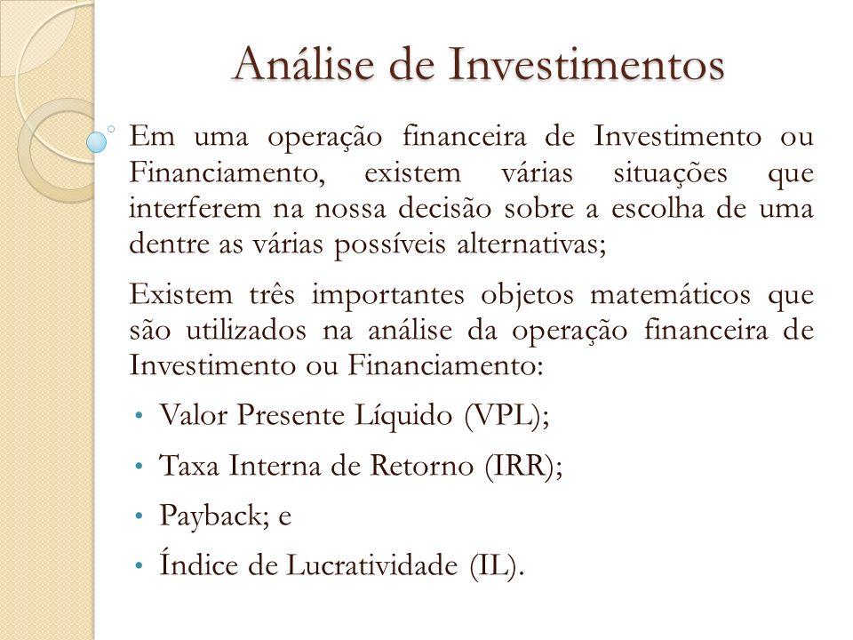 Índice de Lucratividade (IL) O IL é uma medida relativa entre o valor presente dos fluxos de caixa recebidos e o investimento inicial; O valor do investimento é colocado em módulo, ou seja, sempre será positivo.