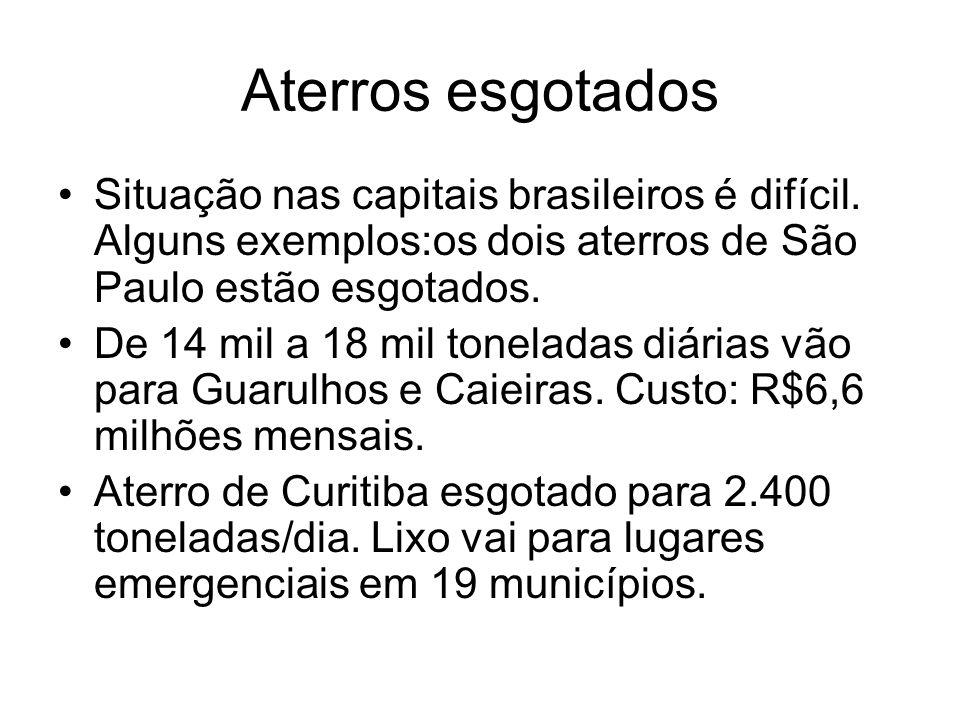 Aterros esgotados Situação nas capitais brasileiros é difícil. Alguns exemplos:os dois aterros de São Paulo estão esgotados. De 14 mil a 18 mil tonela