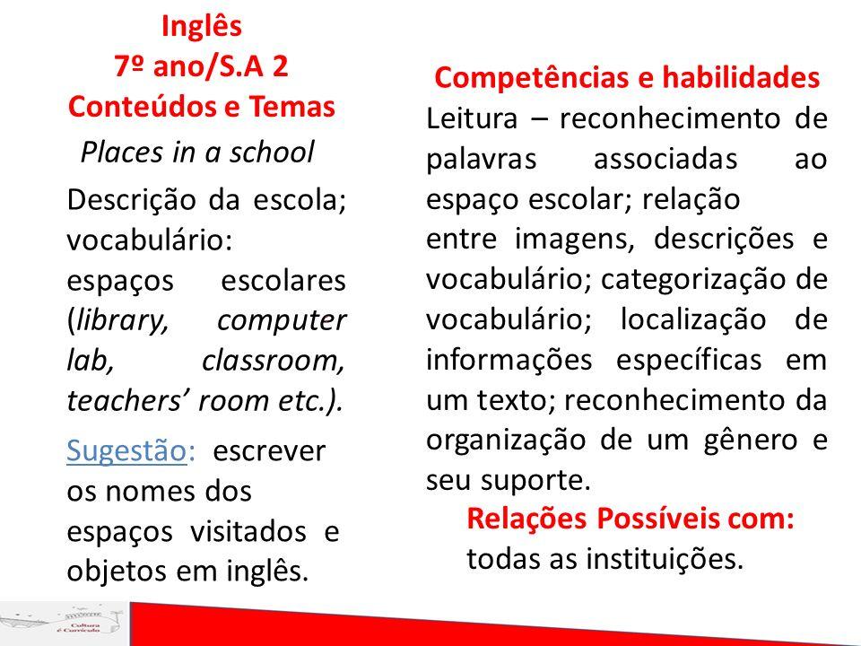 Places in a school Inglês 7º ano/S.A 2 Conteúdos e Temas Descrição da escola; vocabulário: espaços escolares (library, computer lab, classroom, teache