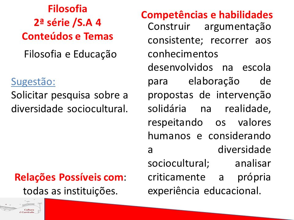 Filosofia 2ª série /S.A 4 Conteúdos e Temas Competências e habilidades Construir argumentação consistente; recorrer aos conhecimentos desenvolvidos na