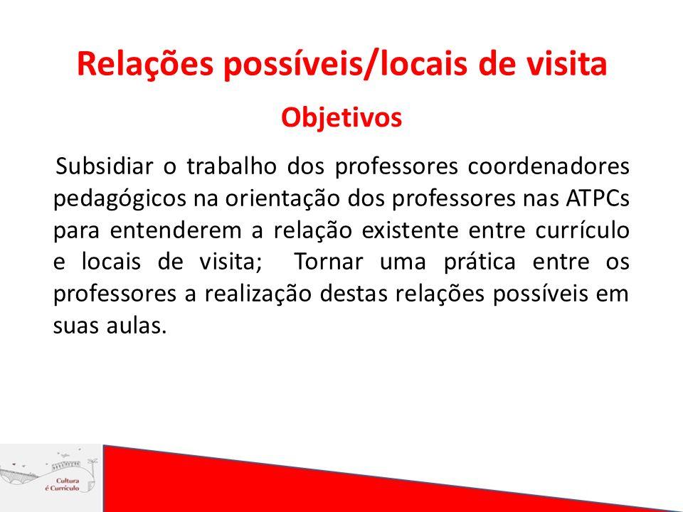 Relações possíveis/locais de visita Objetivos Subsidiar o trabalho dos professores coordenadores pedagógicos na orientação dos professores nas ATPCs p