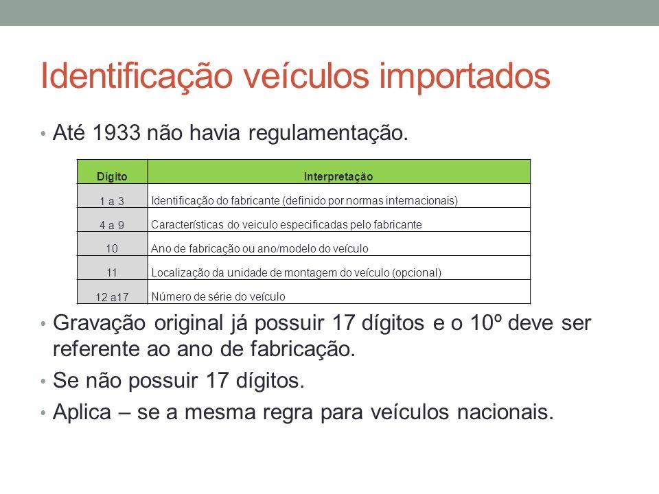 Identificação veículos importados Até 1933 não havia regulamentação. Gravação original já possuir 17 dígitos e o 10º deve ser referente ao ano de fabr