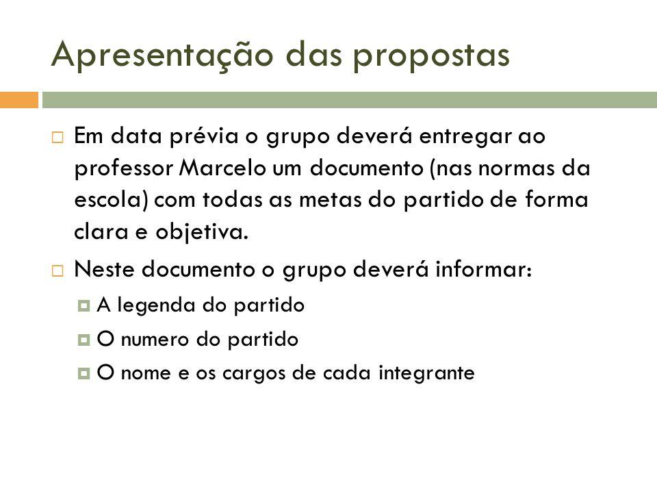 Apresentação das propostas Em data prévia o grupo deverá entregar ao professor Marcelo um documento (nas normas da escola) com todas as metas do parti
