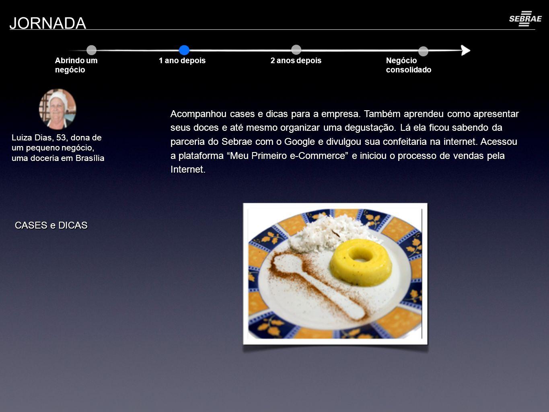 JORNADA Abrindo um negócio 1 ano depois 2 anos depois Negócio consolidado Luiza Dias, 53, dona de um pequeno negócio, uma doceria em Brasília Acompanhou cases e dicas para a empresa.