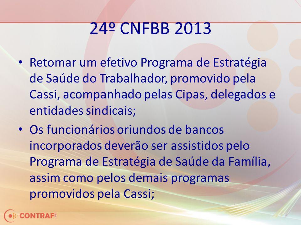 24º CNFBB 2013 Retomar um efetivo Programa de Estratégia de Saúde do Trabalhador, promovido pela Cassi, acompanhado pelas Cipas, delegados e entidades sindicais; Os funcionários oriundos de bancos incorporados deverão ser assistidos pelo Programa de Estratégia de Saúde da Família, assim como pelos demais programas promovidos pela Cassi;