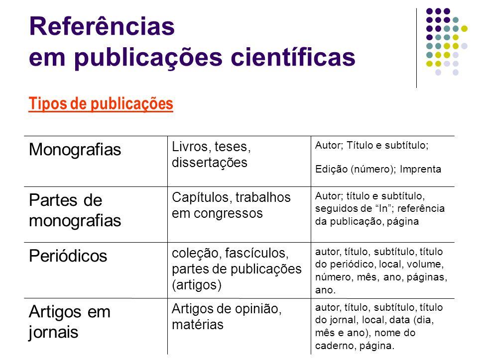 Referências em publicações científicas autor, título, subtítulo, título do jornal, local, data (dia, mês e ano), nome do caderno, página. Artigos de o