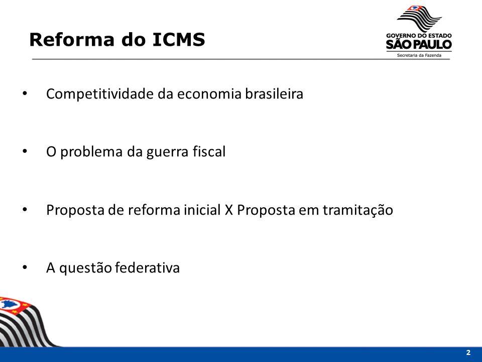 Reforma do ICMS 2 Competitividade da economia brasileira O problema da guerra fiscal Proposta de reforma inicial X Proposta em tramitação A questão federativa