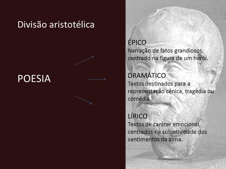 Divisão aristotélica POESIA ÉPICO Narração de fatos grandiosos, centrado na figura de um herói. DRAMÁTICO Textos destinados para a representação cênic