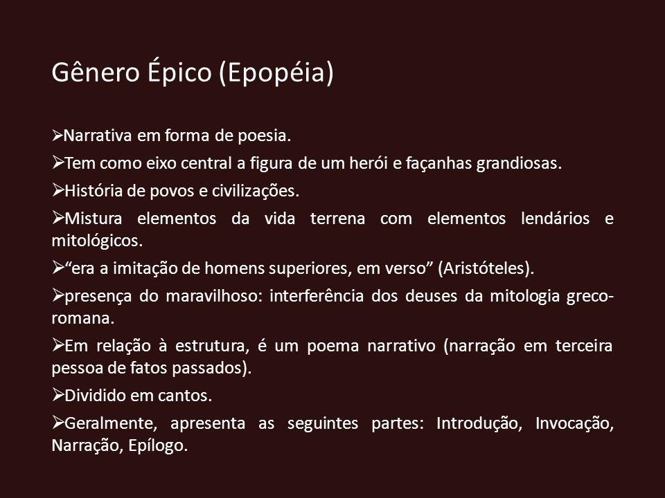 Gênero Épico (Epopéia) Narrativa em forma de poesia. Tem como eixo central a figura de um herói e façanhas grandiosas. História de povos e civilizaçõe