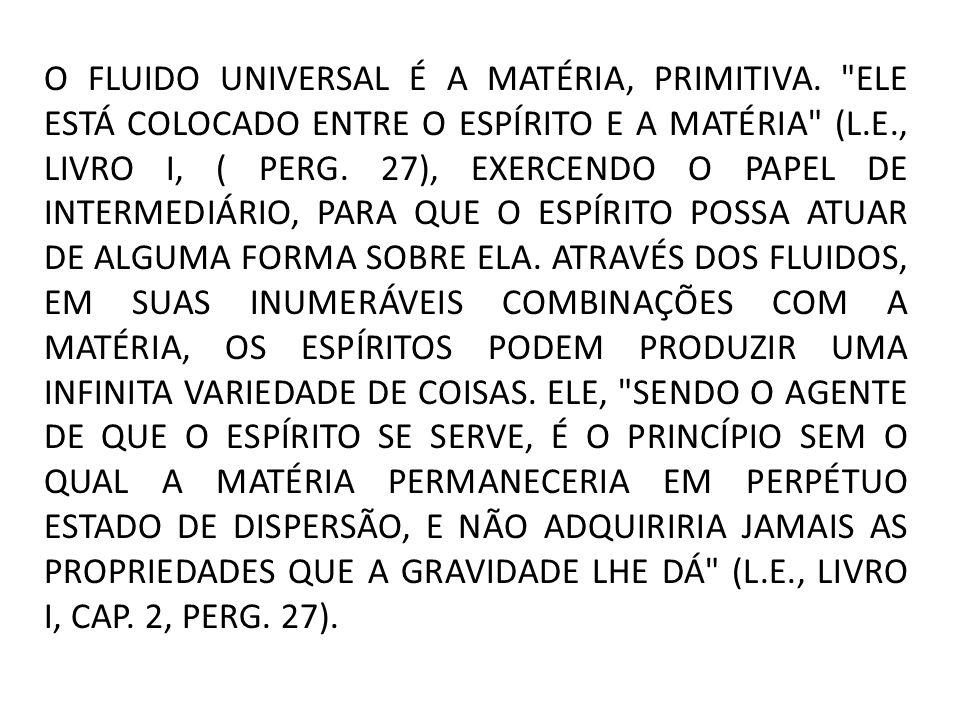 O FLUIDO UNIVERSAL É A MATÉRIA, PRIMITIVA.