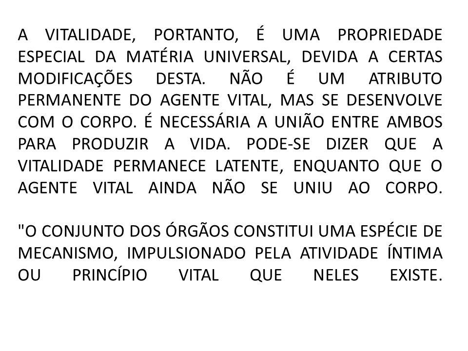 A VITALIDADE, PORTANTO, É UMA PROPRIEDADE ESPECIAL DA MATÉRIA UNIVERSAL, DEVIDA A CERTAS MODIFICAÇÕES DESTA.