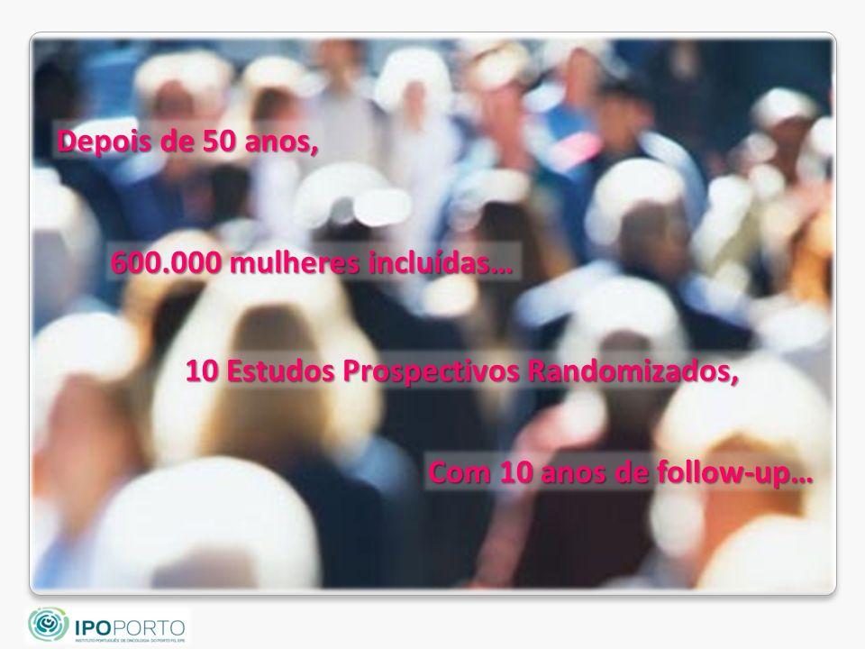 Depois de 50 anos, 600.000 mulheres incluídas… 10 Estudos Prospectivos Randomizados, Com 10 anos de follow-up…