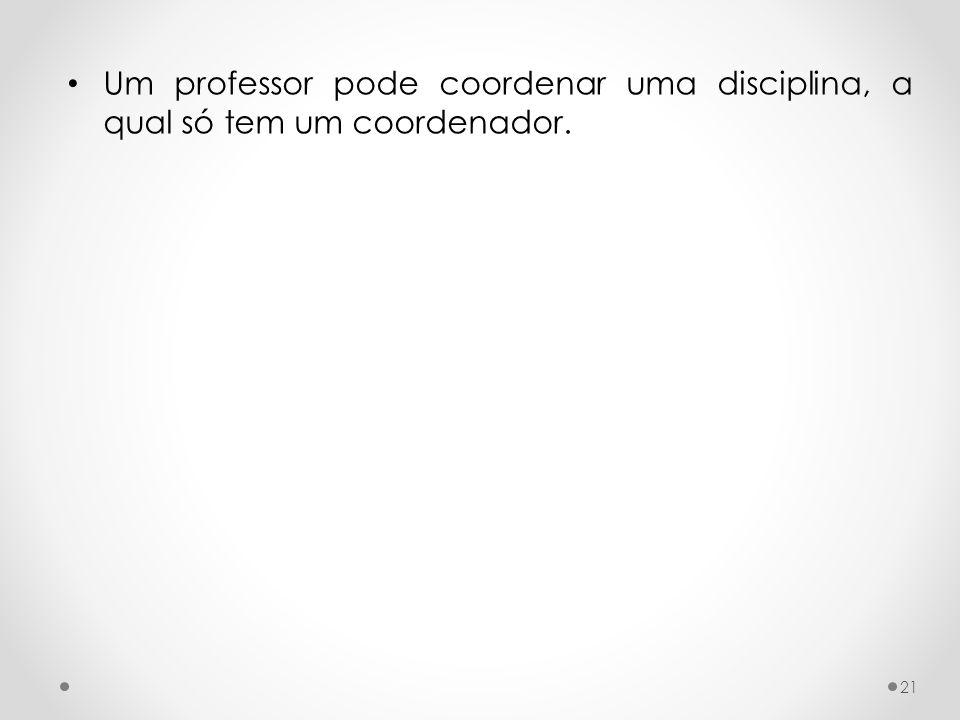 Um professor pode coordenar uma disciplina, a qual só tem um coordenador. 21